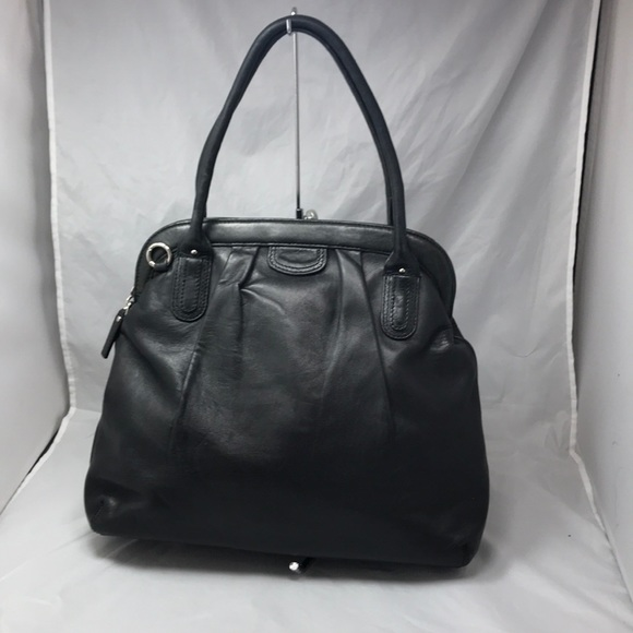 Banana Republic Handbags - BANANA REPUBLIC Black Glove Leather Framed Satchel